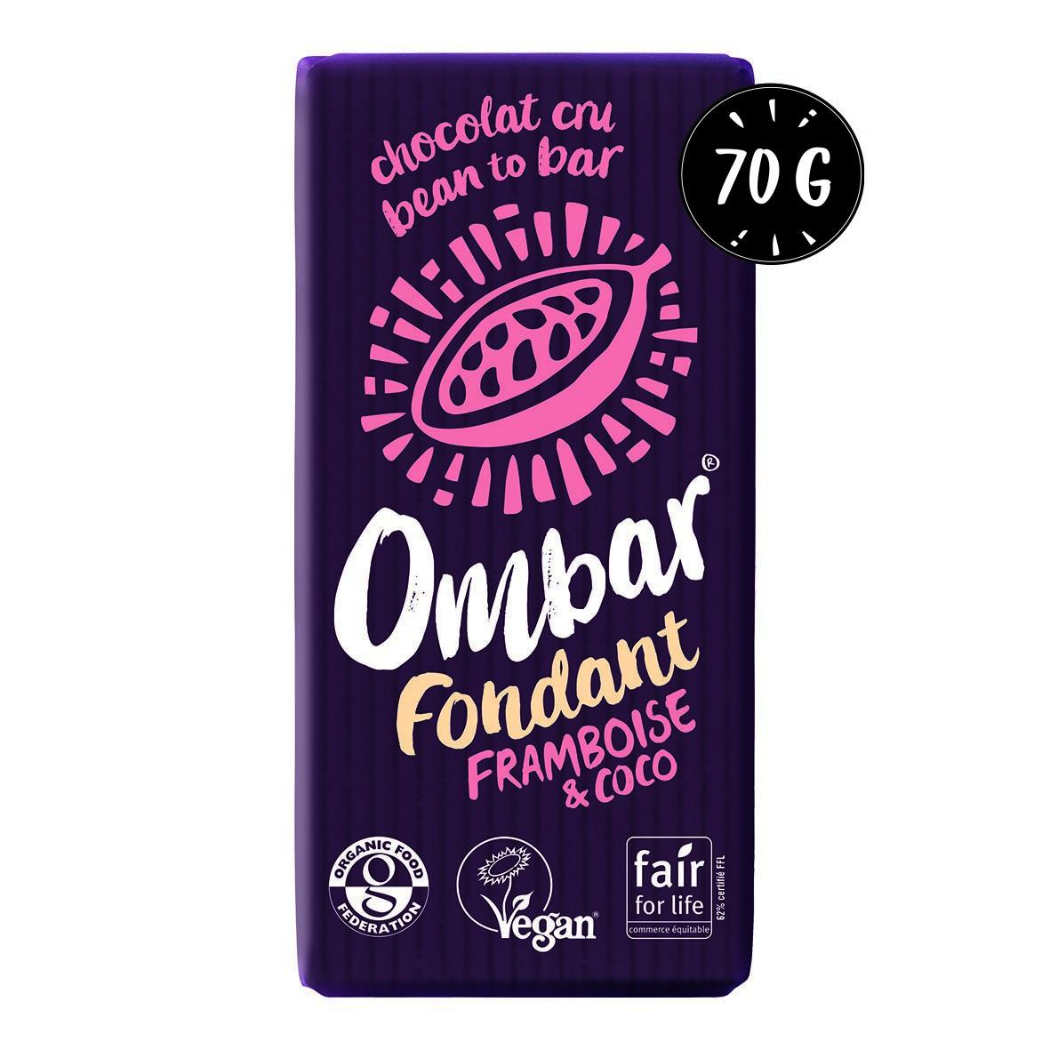Chocolat CRU Fondant Framboise-Coco 70g